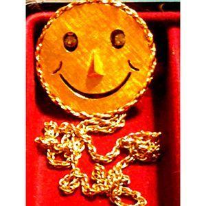 Vintage Gold Smiley face Necklace